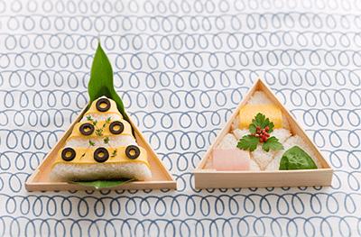 使用例:三角の折箱をお皿として利用